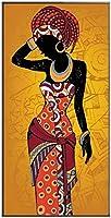 現代絵画アフリカンアート黒と金の女性ポスターとプリントの絵画スカンジナビアの壁アートリビングルームの写真70x140cmフレームなし