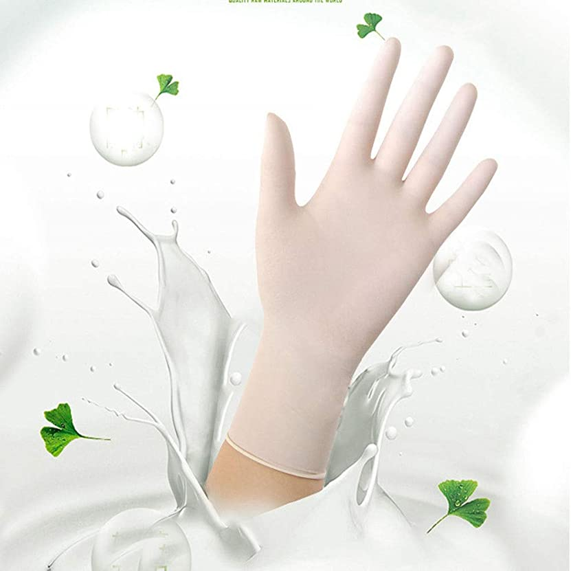 にモスク名義でニトリル検査用手袋 - 医療用グレード、パウダーフリー、ラテックスラバーフリー、使い捨て、非滅菌、食品安全、インディゴ色、100カウント、サイズS-L (Color : White, Size : S)
