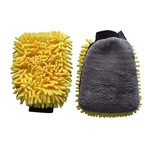 Demarkt - Guante de Lavado de Coche de Doble Cara de Microfibra Absorbente – Guante de Coche y llanta sin Manchas para la Limpieza y el Tratamiento del Coche