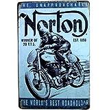 Chytaii. Placa De Arte Norton Cartel De Chapa Vintage Decoracion para Pared Hogar Oficina Bar Cafetería