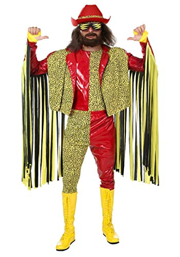 Randy Savage Macho Man Costume Adult WWE Costume Officially Licensed Randy Savage Costume Large Red