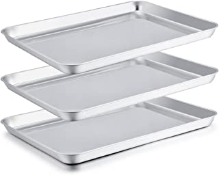 P&P CHEF Large Baking Sheet Set of 3, Stainless Steel Baking Pans Tray Cookie Sheet, Rectangle 16''x12''x1'', Healthy & Non Toxic, Mirror Finish & Easy Clean - Dishwasher Safe