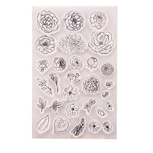 4.1 by 5.9 Inches Flower Tree Leaves Clear Rubber Stamps for Scrapbooking Card Making Christmas Decors