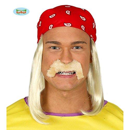 Amakando Hulk Hogan Perücke mit Bart rotes Bandana mit Langhaarperücke Wrestling Haartuch Wrestler Oberlippenbart Trucker Kostüm Accessoire Rocker Kopftuch