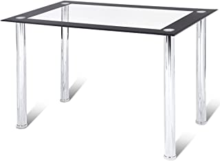 Tangkula Dining Table with Glass Top, Modern Leisure Home Kitchen Tea Table Office Conference Pedestal Desk