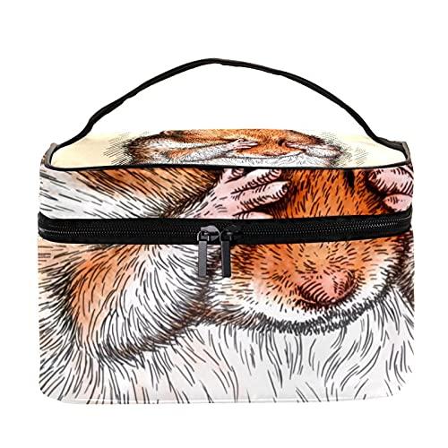 Grabar hámster bolsa de maquillaje de viaje grande bolsa de cosméticos bolsa de maquillaje organizador con cremallera para mujeres y niñas