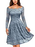 MISSMAY Women's Vintage Floral Lace Long Sleeve Boat Neck Cocktail Party Swing Dress, Medium, Blue Grey