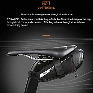 OIZEN Alforja para sillín Soporte para luz Trasera para Bicicleta de Carretera (0,6 L), Unisex, Negro, (0,6L)