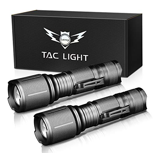 LETMY LED Tactical Flashlight, Ultra Bright 2000 Lumen XML T6 LED Flashlights With 5 Modes, Zoomable...