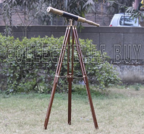 A Sailor Boat Antique Telescope Black Leather Wooden Stand Marine Royal Telescopes