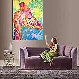 wojinbao Cartel de Arte nórdicoHome Impreso Orange Giraffe Head Animal Oil ng on Canvas Prints Wall Art Pictures For Office Bedroom Living Room