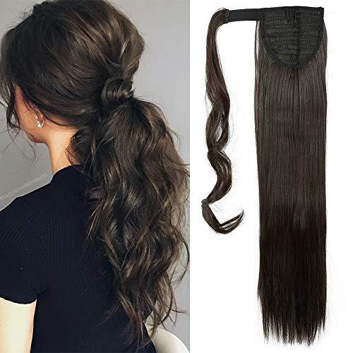 TESS Pferdeschwanz Extensions Dunkelbraun Ponytail Haarteil Clip in wie Echthaar Haarverlängerung günstig Zopf Extensions Haarteile Glatt 23