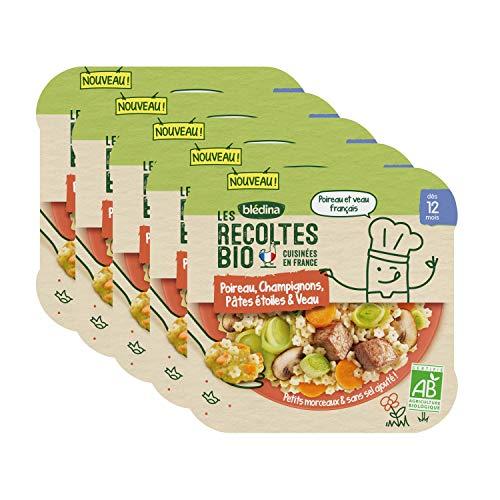 Blédina Les Récoltes Bio, Repas bébé Bio, Dès 12 Mois, Pâtes, Poireau, Veau, 230g (Packx5)