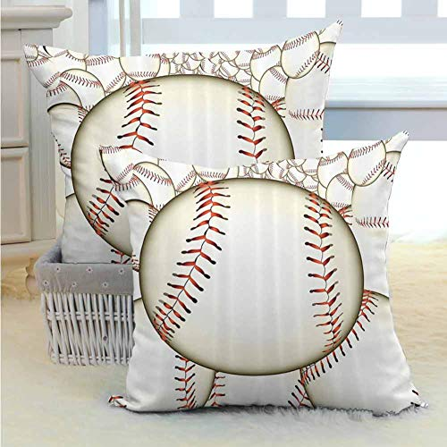 "Sports Decor Square Throw Pillow Covers Set Pattern of Baseball Balls Background Home Run Rules of the Game Success Score Print Durable Decorative for Couch/Bed/Sofa 2PCS, W22"" x L22"" inch Cream Red"