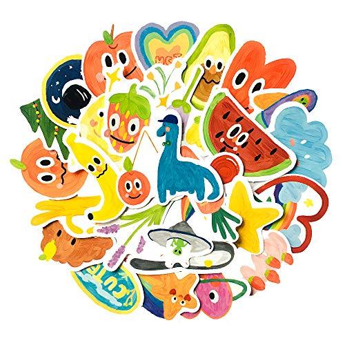 JZLMF 30 pegatinas de dibujos animados de graffiti, para niños, acuarela, pintura al óleo, maletín, papel de carta, cuentas