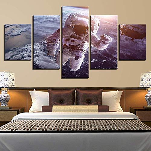yusanbaihuodian Decoración de Imagen en Blanco y Negro para Arte de Pared de Sala de Estar 5 Piezas HD Impreso Collares de Perlas Cartel Modular Lienzo Pintura