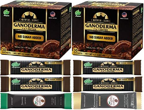 PureGano Premium Ganoderma Black Instant Coffee - 180mg Red Reishi Mushroom Lingzhi Lucidum Extract 2 in 1 Sugar Free - 2 Boxes + 6 Bonus Samples - 66 Sachets Total