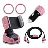 Auto Zubehör Innenraum Frauen Glitzer, Auto Dekoration Innenraum Frauen, Autozubehör Bling Bling Car Accessories Kristall Usb Adapter, Usb Kabel Micro/type C, Handyhalterung (Rosa, 5pc Set)