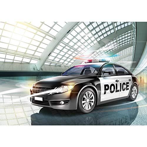 Vlies Fototapete PREMIUM PLUS Wand Foto Tapete Wand Bild Vliestapete - Polizei Auto Alarmanlage Illustration Jungen - no. 1351, Größe:152.5x104cm Vlies