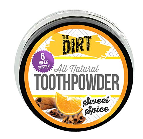 The Dirt All Natural Tooth Powder - Gluten & Fluoride Free Organic Teeth Whitening Powder with Essential Oils | No Added Sweeteners, Artificial Flavors or Colors - Sweet Spice, 3 Month Supply