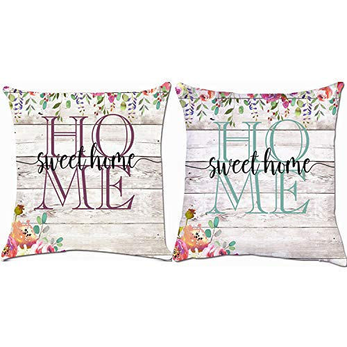 ZUEXT Home Sweet Home Rustic Country Spring Floral Throw Pillow Covers 18x18 Inch, Set of 2 Cotton Linen Indoor Outdoor Square Cushion Pillowcase Cover for Car Sofa Nursery Room Decor