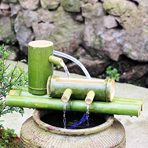 Fontaine d'eau Basse en Bambou avec Pompe , Cascade de décoration Zen Japonaise Chute d'eau intérieure/extérieure en Bambou, Longueur 35 cm