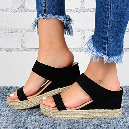 ypyrhh Casual Beach Wedge Slipper,Pattern sandals and slippers,wedge heel women's slippers-black_38,Shower Beach & Pool Shoes