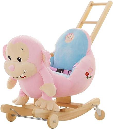 Schaukelstuhl Schaukelpferd Kinder mit Schubstange Schaukelpferd mit doppeltem Verwendungszweck mit Musik Baby Baby P gogisches Spielzeug Geschenk FANJIANI