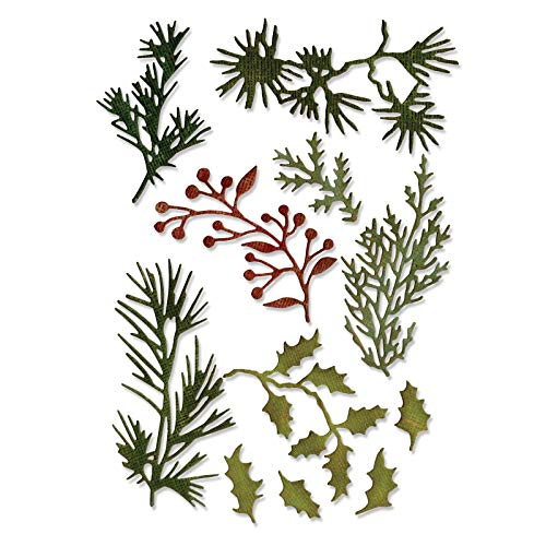 Sizzix Thinlits Die Set 661597, Holiday Greens, Mini by Tim Holtz, 11 Pack, One Size, Multi Color