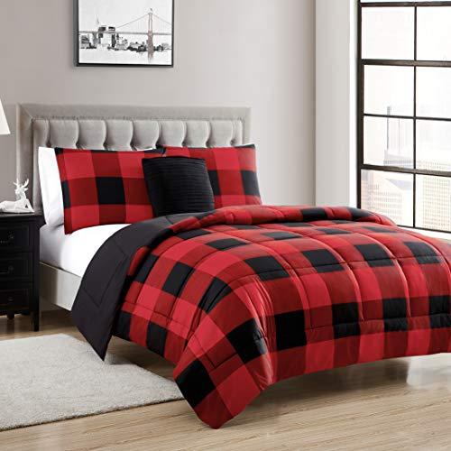 Sweet Home Collection Comforter Set 4 Piece Buffalo Check...