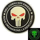 Punisher DIEU JUGERA NOS ENNEMIS Glow Dark Marine Navy Seals DEVGRU PVC 3D Attache-boucle Écusson Patch