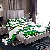 Juego de sábanas para niños King Excavator Car Bedding Set para niños y niñas, dibujos animados de construcción para camiones (1 sábana encimera + 1 sábana bajera + 2 fundas de almohada), King, verde