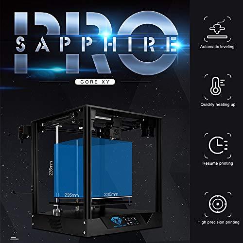 Leslaur DUE ALBERI Sapphire Pro CoreXY Stampante 3D Kit fai-da-te Stampa silenziosa alta precisione Estrusore BMG 235 * 235 * 235mm volume di costruzione Livellamento automatico Riprendi Filamento