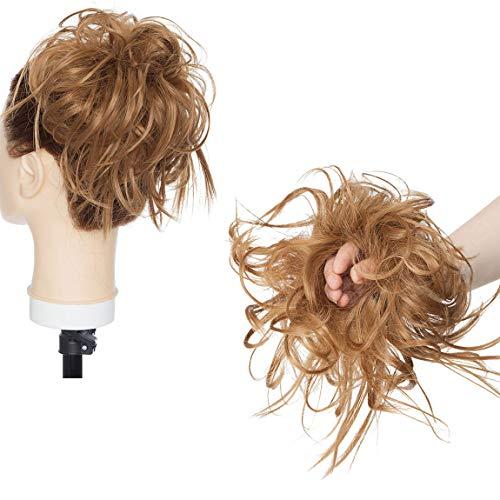 XXL Postiche Cheveux En Caoutchouc Chouchou Chignons VOLUMINEUX Bouclés Ou Chignon Décoiffé Extension a clip Cheveux Naturel Café brun