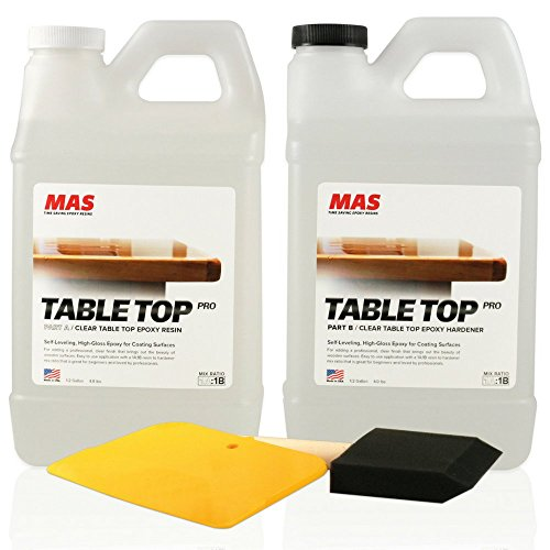 Crystal Clear Epoxy Resin One Gallon Kit | MAS Table Top Pro Epoxy Resin & Hardener | Two Part Kit for Wood Tabletop, Bar Top, & Resin Art | Set Includes Spreader & Brush | Professional Grade Coating