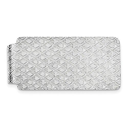 Clip de plata de ley 925 con textura sólida pulida y grabable, regalo de joyería para hombres