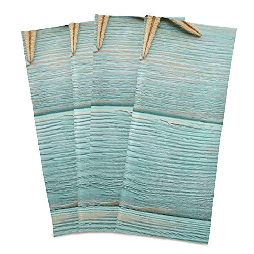 J JOYSAY Sea Stars Shells Wooden Kitchen Dish Towel Set of 4 Ultra Absorbent & Fast Drying Dish Cloths Tea Towels Bar Towels Kitchen Decor 28x18 in