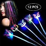 LED Farfalla Incandescente Capelli Decorazione, 12 PCS LED Fascia Decorazione dei Capelli,...