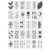 Lurrose 2 Set / 60Pcs Línea Creativa Etiqueta Geométrica Tatuajes Temporales a Prueba de Agua