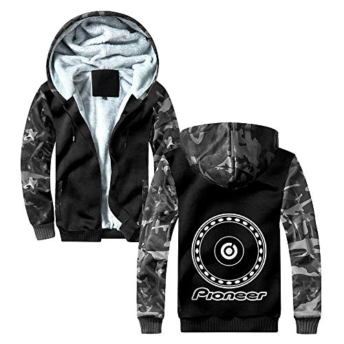 Pioneer Pro Dj Mäntel Winter Plus Samt-Mantel-Männer Patchwork-Jacke mit Kapuze Camouflage Splice Oberbekleidung Pioneer Pro Dj Kapuzenpullover (Color : Grey06, Size : L)