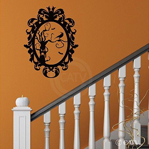 Halloween Sticker Cadre en Vinyle 8 Arbre effrayant avec corbeau Portrait en Home Decor Sticker mural en vinyle texte (Taille M 16,5 x 22)