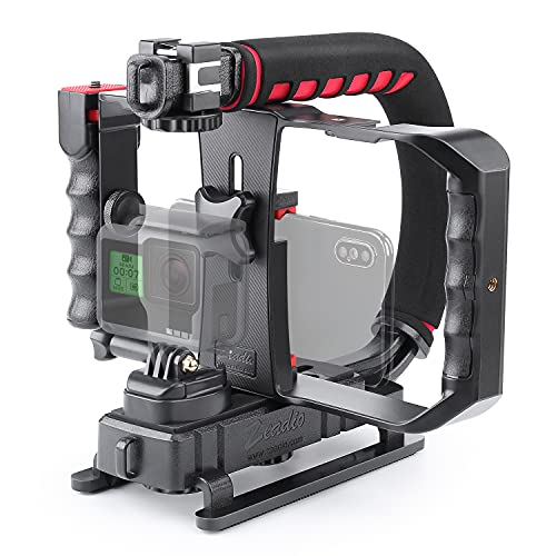 Zeadio Video Action Handheld Stabilizer with Smartphone Video Rig for All Camera Action Camera Camcorder and Smartphones