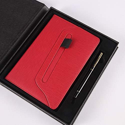 Blocs de notas Cuaderno de cuero suave superficie tarjeta Bloc de notas de superficie Color personalizado diario Business Office Paperback A5 Red caja de regalo ( Color : Black gift box , Size : - )