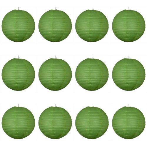 Vert 12 x 16 cm-Lanterne en Papier ronde avec nervures en fil de fer-Lot de 10