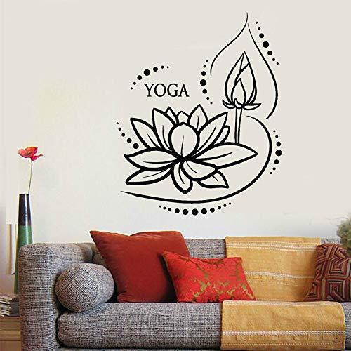 Moda Inicio Vinilo Apliques de pared Lotus Yoga Meditación Budista Lotus Dormitory Yoga Studio Sala de estar Artista de la pared Living Decoración de la pared Gris 42x52cm