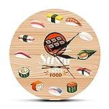 Usmnxo 12 Pollici (30 cm) Cucina Fatta a Mano Orologio da Parete Piatto di Sushi Pesce Crudo Cucina Chef Regalo Senza Cornice