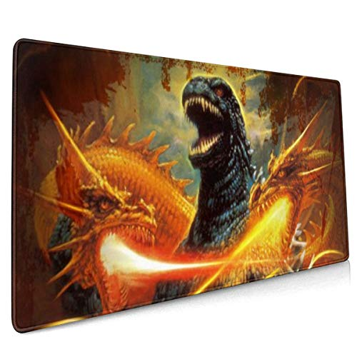Noriyoshi Ohrai Godzilla Extended Gaming Mouse Mat, DIY Custom Professional Mouse Pad (35.5x15.8In),Desk Pad Keyboard Pad Mat, Water-Resistant, Non-Slip Base, For Work & Gaming, Office & Home