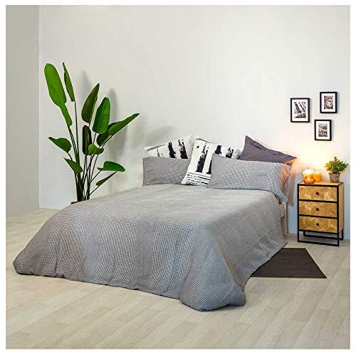 COTTON ARTean Funda Nordica Nido DE Abeja BIDART Cama de 105 ALGODÓN 100%. Color Gris. Reverso percal algodón 100%.