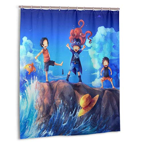 LemonSisterShop Anime One Piece Ruffy Ace Duschvorhänge für Badezimmer, 60x72 Zoll Polyester widerstandsfähiger 3D-Druck Wasserdichter Duschvorhang - 12 Kunststoffhaken