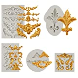 JOERSH Baroque Silicone Mold,5 Pack 3D Sculpted Flower Royal Lace Cake Fondant Molds for Cake Border Decoration Candy Polymer Clay Sugar Craft,Cupcake Topper